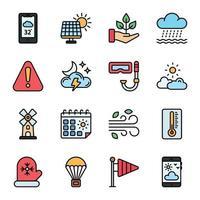 ícones de linha colorida de clima vetor