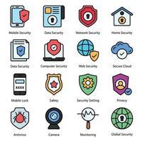ícones de linha colorida de segurança vetor