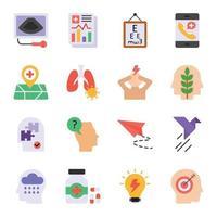 ícones planos de ansiedade e depressão vetor