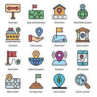 mapa e ícones coloridos de navegação vetor