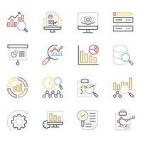 ícones de linhas coloridas de big data e ciência vetor