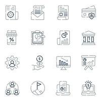 ícones de linha de negócios e finanças vetor