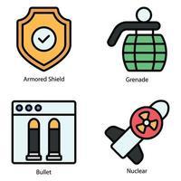 ícones de linha militar colorida vetor