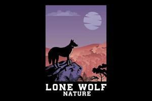 desenho de silhueta de lobo solitário vetor