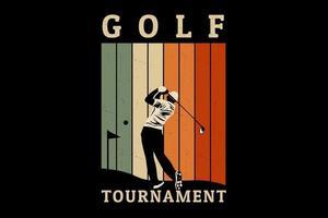desenho de silhueta de torneio de golfe vetor