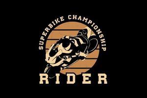 design da silhueta do super bike rider vetor