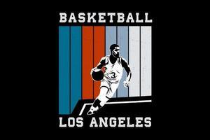 desenho de silhueta de los angeles de basquete vetor