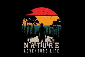 natureza aventura vida silhueta design vetor