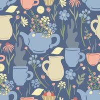 padrão sem emenda de chá de ervas com bules, flores silvestres, canecas em azul vetor