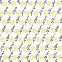 padrão sem emenda com limões amarelos e folhas verdes vetor