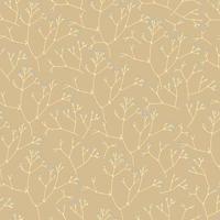 padrão sem emenda com galhos floridos finos em fundo bege vetor