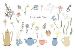 ervas, bules e canecas de jogo de chá. limão, sobremesa e flores silvestres vetor