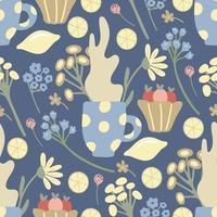 padrão sem emenda de chá de ervas com limões, flores silvestres, canecas em azul vetor