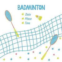 pôster de esporte com equipamento de badminton vetor