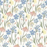 padrão sem emenda de ervas com flores do Prado em amarelo claro. vetor