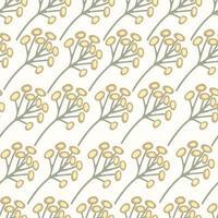 padrão sem emenda de ervas com flores silvestres flores de camomila alemã vetor