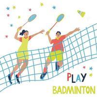 jogo de badminton de duplas mistas. homem e mulher vetor