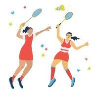 duplica o jogo de badminton. pulando mulheres com raquetes vetor