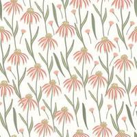 padrão sem emenda de ervas com flores de equinácea do prado vetor