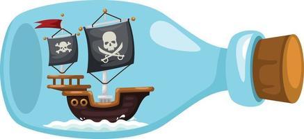 navio pirata em garrafa vetor