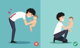 melhores e piores posições para segurar o bebezinho vetor