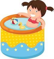uma garota na piscina inflável vetor