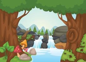 vetor paisagem cachoeira