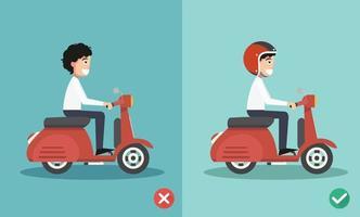 maneiras certas e erradas de andar para evitar acidentes de carro vetor