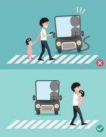 cuidado com o passo. homem com criança na faixa de pedestres vetor