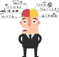 empresário com ícone de funções do cérebro esquerdo e direito vetor