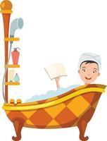 mulher tomando banho na banheira vetor