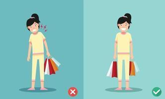 maneiras certas e erradas de segurar sacolas de compras vetor