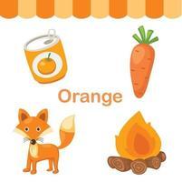 ilustração de grupo isolado de cor laranja vetor