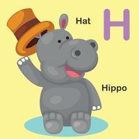 ilustração isolado animal alfabeto letra h-hat, hipopótamo vetor