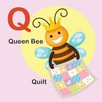 ilustração isolada letra do alfabeto animal q-colcha, abelha rainha vetor