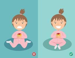 maneiras certas e erradas posição sentada para criança vetor