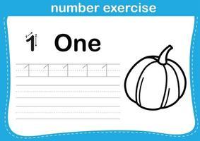 exercício de número com ilustração de livro para colorir de desenho animado vetor