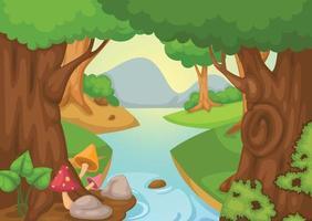 floresta com um vetor de fundo de rio
