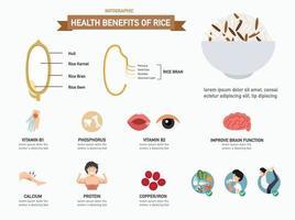 benefícios para a saúde de infográficos de arroz. vetor