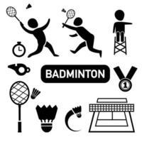 ícone de badminton isolado vetor