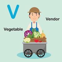 ilustração isolada letra do alfabeto v-fornecedor, vegetal vetor