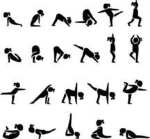 conjunto de poses de ioga vetor