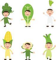 fantasias vegetais crianças vetor
