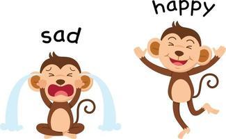 palavras opostas vetor triste e feliz