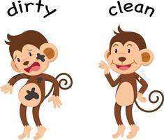 palavras opostas sujo e limpo vetor