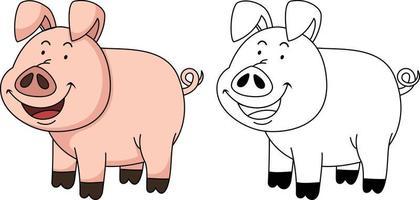 ilustração de livro de colorir educacional - porco vetor