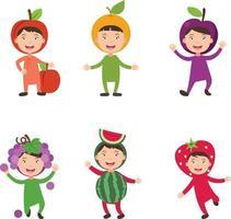 fantasias frutas crianças vetor