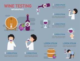 infográfico de degustação de vinhos, ilustração vetor