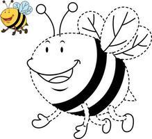 ilustração de jogo educativo para crianças e livro-abelha para colorir vetor