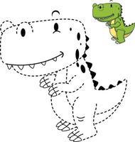ilustração de jogo educativo para crianças e livro de colorir-dinossauro vetor
